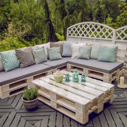 Ręcznie robione meble ogrodowe z palet + szyba