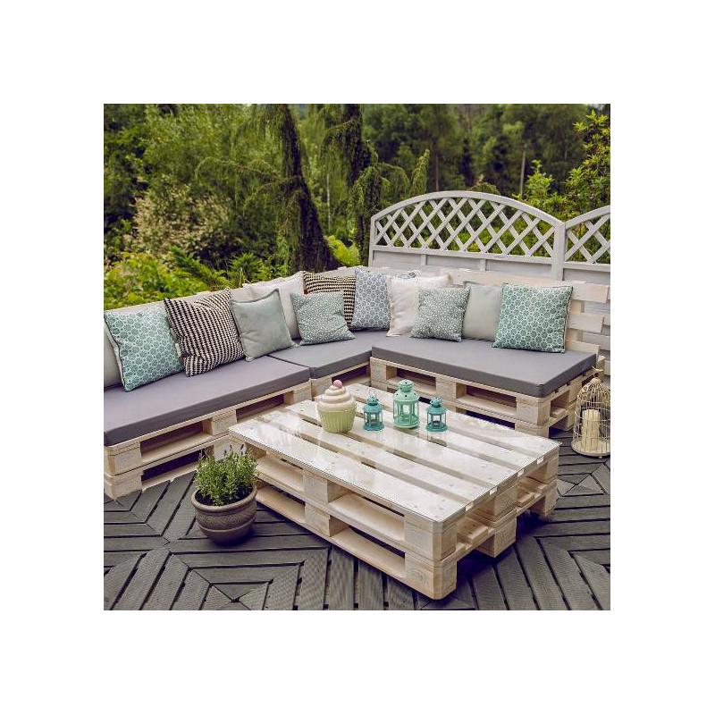 Meble ogrodowe z palet + stół z szybą
